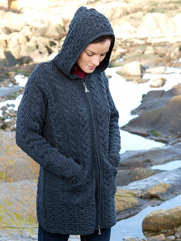 HOODED COAT WITH CELTIC KNOT ZIPPER HD4025 - West End Knitwear