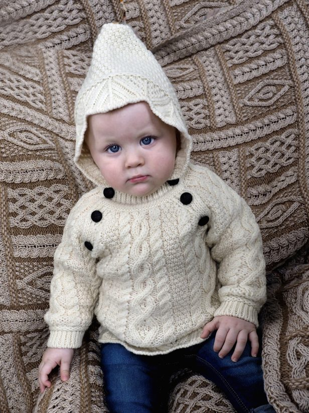 BABY LACE STITCH HOODED SWEATER HD4558