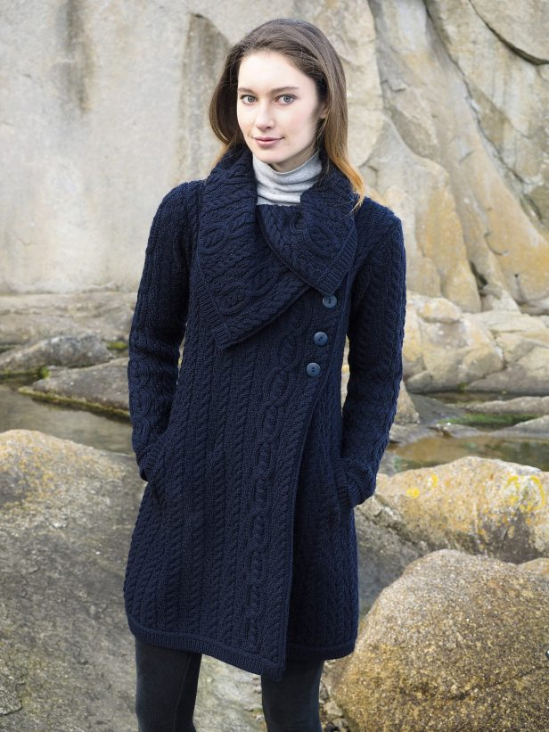 CHUNKY COLLAR COAT X4416 NAVY