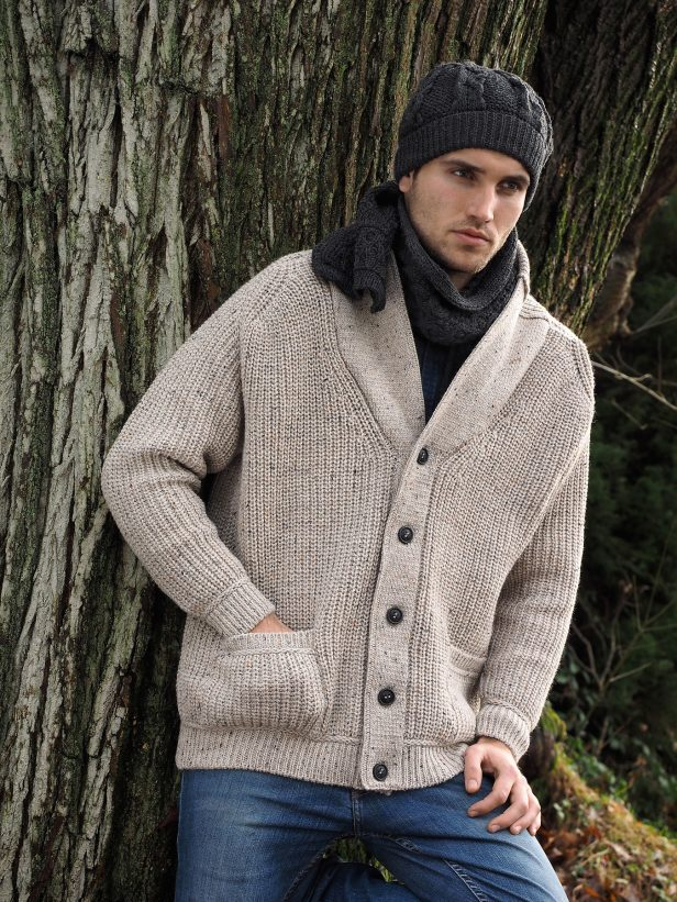 MEN'S RIBBED SHAWL CARDIGAN SH4627
