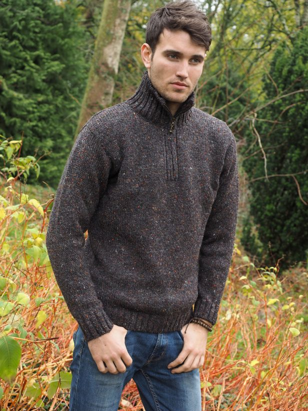 DONEGAL WOOL HALF MEN'S SWEATER Z2040