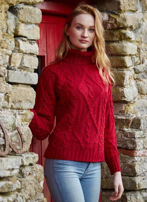 TURTLE NECK SWEATER RED R2080