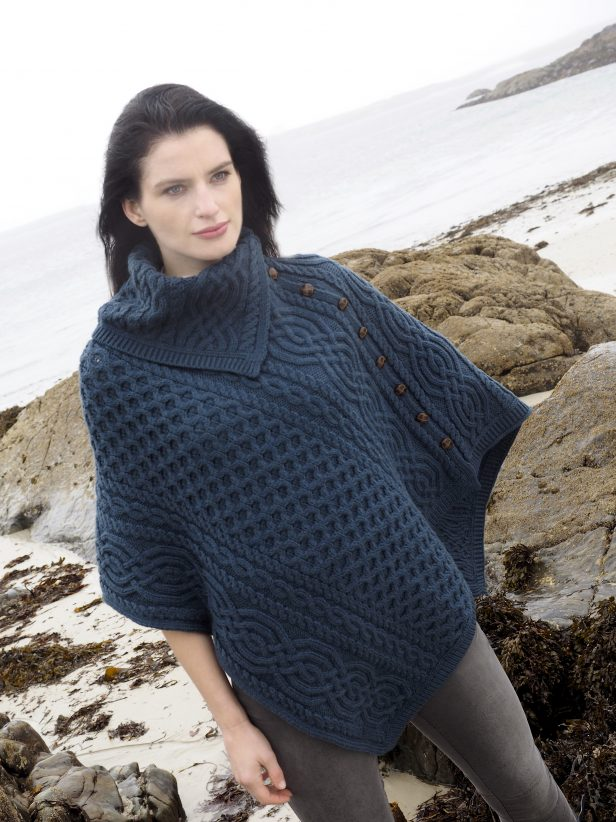 Cowl Neck Poncho with Buttons CW4787