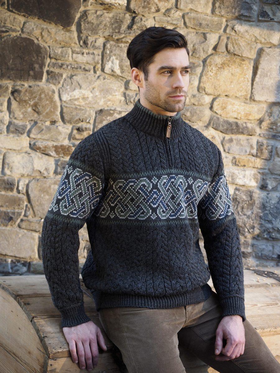 West End Merino Wool Half Zip Irish Sweater