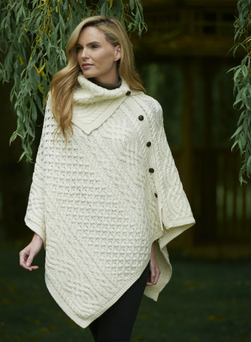 Cowl Neck poncho Natural