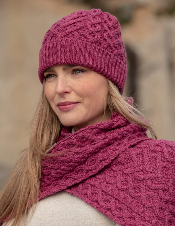 heart hat and scarf Magenta