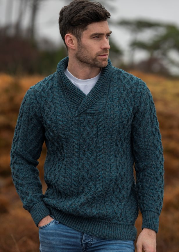 Bunratty Shawl sweater SH5065 Peacock