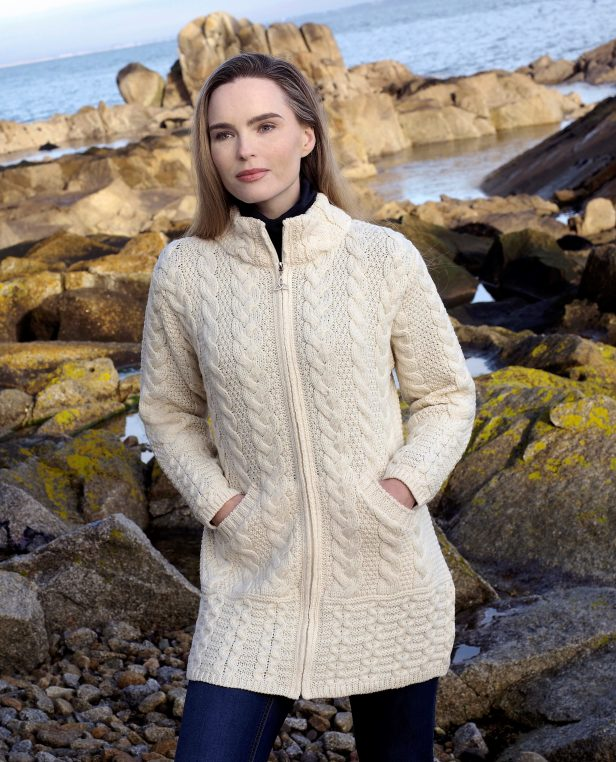Cork long zip coat X5070 Natural